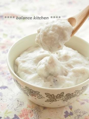 じゃがいもではなく里芋で作る低カロリーのクリームポテト。ねっとり新食感のクセになりそうな味です。レンジを使って、あっという間にできますよ。