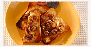 こちらは、朝食にぴったりのパンレシピ。ピーナッツクリームと干し芋をのせたトーストは、きな粉のような味わい。香ばしさも食欲をそそります。