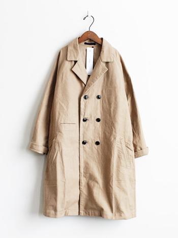秋の新作ヘビーネル・マリンコート。ゆったりとしたダブルのコートで、さらっと見えますがしっかりとした厚みのあるコットンネル素材。着丈も長めで少しルーズなシルエットでラフな着こなしに合いそうです。
