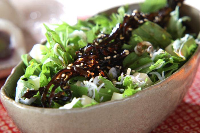 サラダは、やはり旬野菜を満喫したい!こちらは、冬が旬の水菜をたっぷりと使ったシャキシャキサラダ。佃煮昆布、しらす、ごま、チーズ、それぞれの味が引き立てあって、ちょっと野菜が苦手な方ももりもりたくさん食べられそうです。