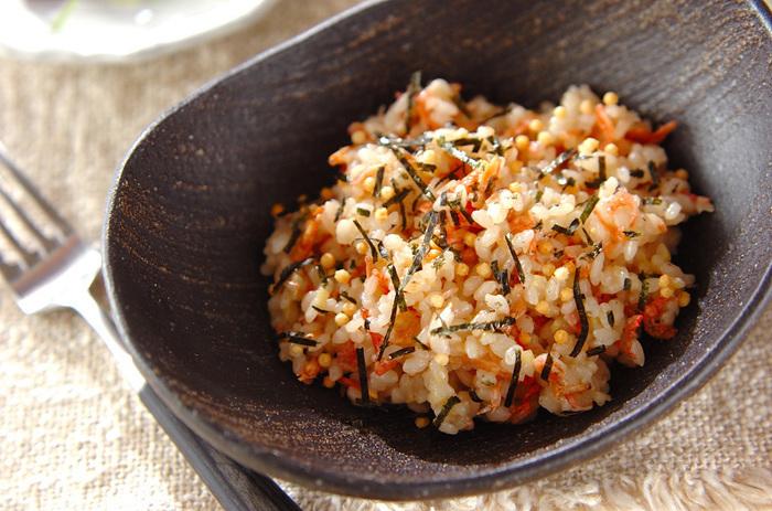 こちらも和風のリゾット。桜海老の色が食欲をそそります。かつお出汁や生姜を使っているので、和風のおかずとも合いそうですね。