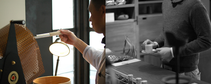 こちらのお店では、茶葉を焙煎する様子が見られたり、お茶に関する知識を伺いながら、ゆっくり自分好みの日本茶を探すことができます。日本茶の世界を存分に楽しめるよう、随所に趣向が凝らされています。