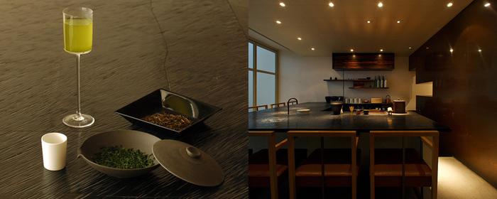 静かな時間が流れる「souen 櫻井焙茶研究所」の茶房。大きなカウンターテーブルを囲むようにして、着席できるのは、全8席。背面の大きな窓からは、le bain(ル・ベイン)の中庭空間が広がります。こちらでは、普段なかなか飲むことのできない、上質な玉露など高級なものを含め、幅広い種類のお茶が用意されています。さらに、季節の和菓子や、お酒やおつまみもあり、小さなスペースでありながら、贅沢な内容。友人や恋人と来るのもいいけれど、ひとりの時間も存分に満喫できる特別な空間です。