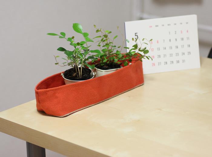2つ、3つと植物を入れて飾っても素敵。ナチュラルな帆布が植物とも馴染みます。