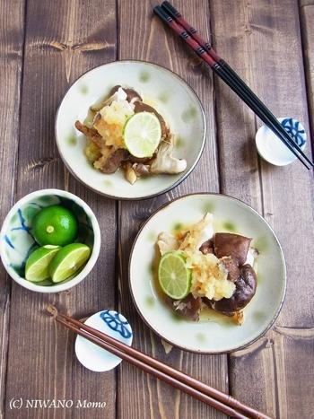 グリルで焼いた肉厚な椎茸を、すだちおろしのソースで和えた一品。すだちの爽やかな香りが広がります。