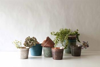 植木鉢として使うと、その鈍い輝きが植物の緑を引き立たせてくれます。ほかにもワインクーラーや小物入れなど、機能性の高いシンプルなフォルムは様々なシーンで活躍してくれるはず。