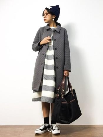 ロング丈で細かめキルティング加工の「studio CLIP(スタディオクリップ)」のジャケット。ロング丈のワンピースとコーデしたルーズで可愛らしいスタイルです。