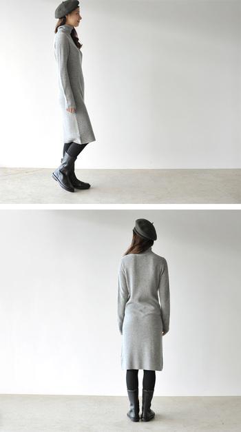 白はちょっと抵抗があり、ブラックだと重くなりすぎてしまう…。そんな人におすすめなのがグレーのニットワンピース。