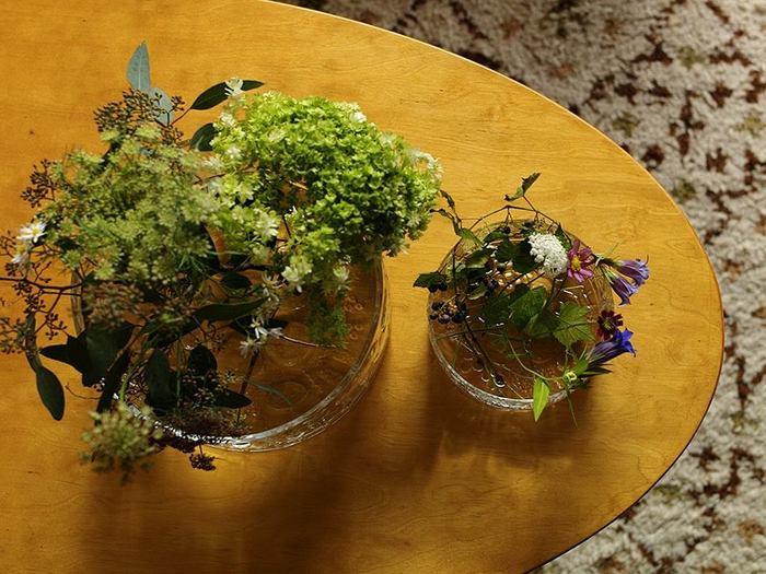 草花柄のフローラには、可憐な草花がとってもよく似合うんです。ボウルに生けたら、上から眺めるのも趣があります。