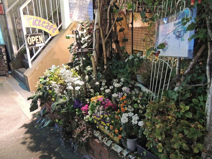 駒沢大学駅より徒歩1~2分のところにあります。お花に囲まれた階段を少し下ったところが入口です。タイ料理を中心に多国籍なメニュー展開になっています。