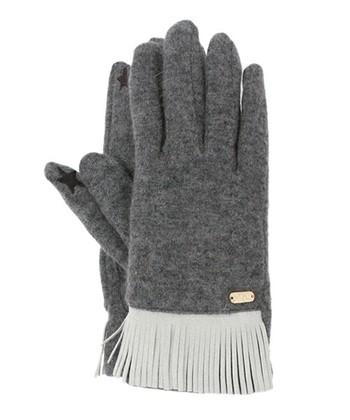 トレンドのフリンジが手首にあしらわれた手袋。シックな色合いとゴールドのブランドプレートがスタイリッシュ。親指と人差し指がタッチパネルに対応し、ちらりと見える星マークに釘付け♪