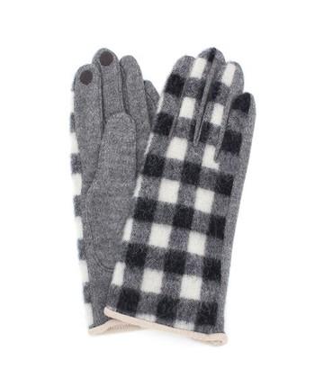 ふんわりとしたウール地にブロックチェック柄をのせた手袋。幅広い着こなしにも合わせやすい落ち着いた配色と女性らしいエレガントなデザインで、様々な着こなしに合わせることができます。