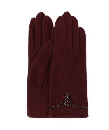 エレガントな雰囲気の、ラインストーンがちりばめられた手袋。ボルドーカラーにブラックのラインストーンが美しく、季節の装いに映えるデザインです。