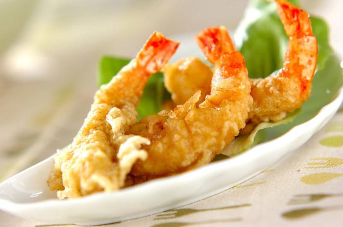 大好きな『えび』の天ぷらに挑戦♪鮮やかな海老の赤色とハーブの香りで食卓に食欲を運びます!!