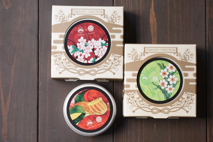 こちらは和のコスメ「kyo・miori」との共同開発で生まれた「珠肌はんどくりーむ」。ほんのりと桜が香ります