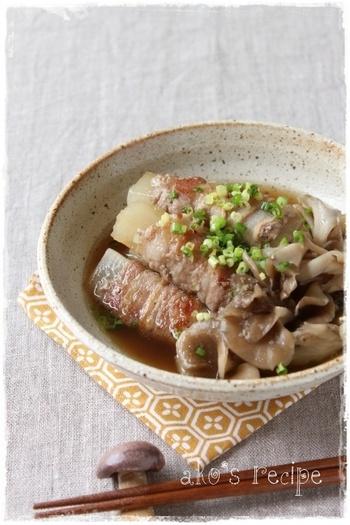 煮ることで柔らかくなる大根とまいたけの食感と風味が楽しめるレシピ。シンプルだけどおかずとしても満足できる1品です。