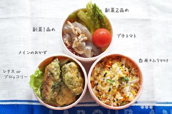 1週間分のお弁当の作り置きおかずの例と、3段式お弁当箱へのつめ方が記載されています。