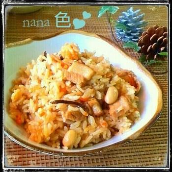 豚の角煮と切干大根をあわせた炊きこみご飯のレシピ。これだけで幸せな気分になれそうですね。