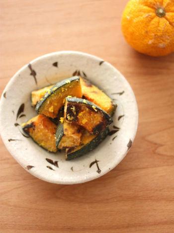 こちらは、かぼちゃとゆず味噌のコラボ。優しい甘さの白味噌を使うと、いろいろな野菜と相性がいいようです。素敵な副菜になりますね。