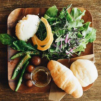 採れたての旬のお野菜が味わえるサラダプレート。食べるとカラダが喜びそうなヘルシーなメニューです。