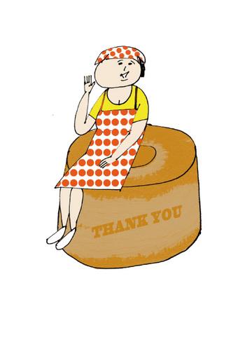 『ゆらりさんとシフォンケーキ』 シフォンケーキの上にちょこんと腰かける、愛嬌たっぷりなゆらりさん。オレンジの水玉のワンピースがなんともいえずキュート♡