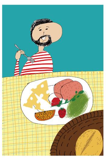『ドイツの朝ごはん』 ドイツの朝食を題材にしたカラフルなイラスト。ヒゲのおじさんの幸せそうな表情が印象的。