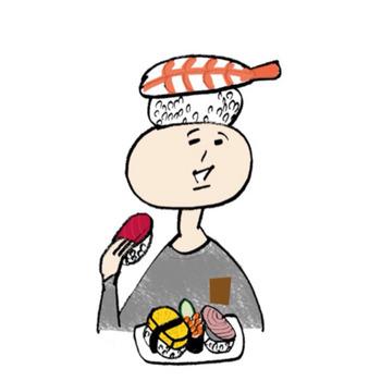 『スシオさん』 エビのお寿司が頭の上に乗っかった、ユーモラスなスシオさん。おいしそうにお寿司を食べるほのぼのとした姿に癒されます。