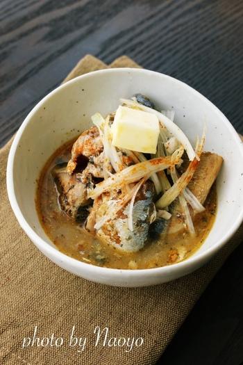 鯖缶を使って、味噌の香りとバターのコクを楽しめる一品を。カルシウムも取れる、体にもうれしいレシピです。