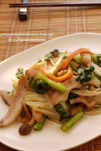 塩豚はコクがあるので、炒め物にも合います♪冷蔵庫にある野菜と一緒に炒めましょう。