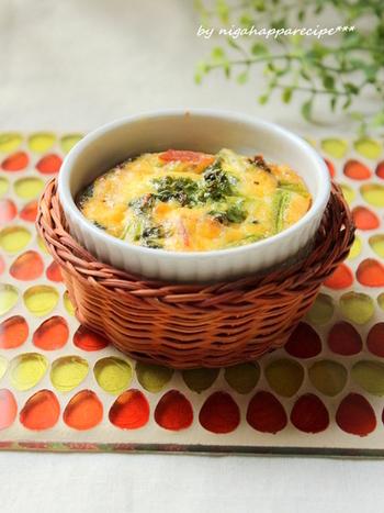 ■菜の花とベーコンのキッシュ カフェでもすっかりおなじみになったキッシュ。 色も味わいも春らしい一品は、ブランチメニューにおすすめです。