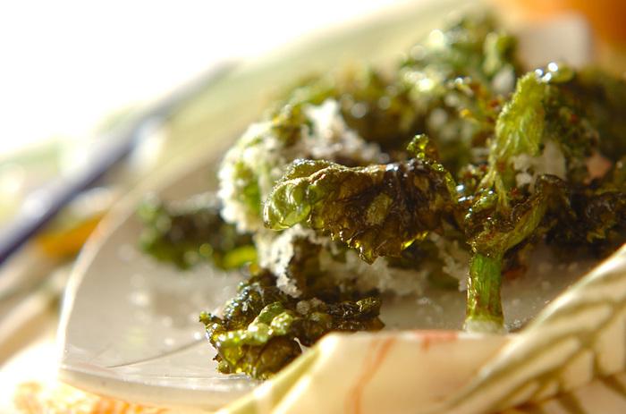 ■揚げ菜の花 しっかりアク抜きしてから、カラッと揚げる菜の花の天ぷら。 サクッ!パリッ!と、歯ごたえの良い食感をお楽しみ下さいね。