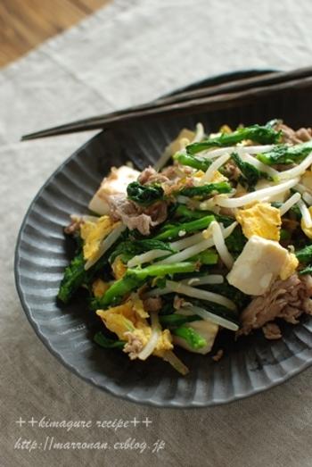 ■菜の花チャンプルー ゴーヤと同じく苦味のある菜の花は、チャンプルーにもよく合います。 かつおを効かせて、ゴマ油でざっと炒めましょう。