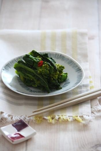 ■菜の花漬け 菜の花はお漬物にしても◎。白出汁を使うことで、彩り鮮やかに仕上がります。