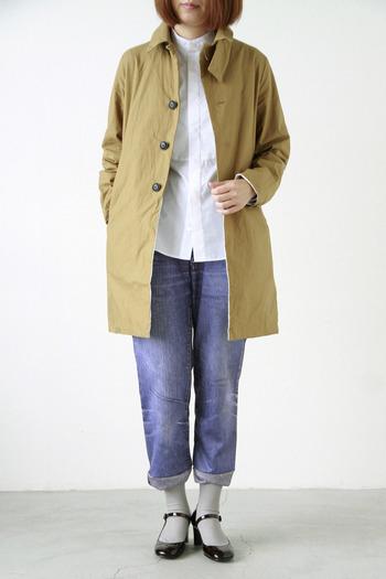 定番「EEL(イール)」のサクラコートは、かっちりとした襟が上品でスタイリッシュな印象。