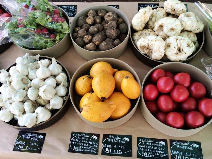 手描きの値札と説明文に、野菜に対する愛情・生産者に対する思いが感じられます。