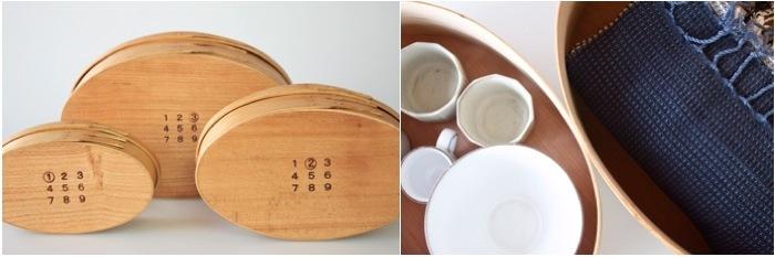 シェーカーオーバルボックスは、接着剤を使いません。塗装には亜麻煮油ベースの自然塗料と蜜蝋ワックスを使用しており、「スワロウテイル」と呼ばれる燕尾形のスライスした木を組み合わせて、釘一本使わずに作られている美しいボックスです。 こちらの写真のシェーカーボックスは、現代作家の井藤昌志さんが作られたものです。井藤さんは、作り方やパターンなどシェーカーの物に忠実に従っているそうです。