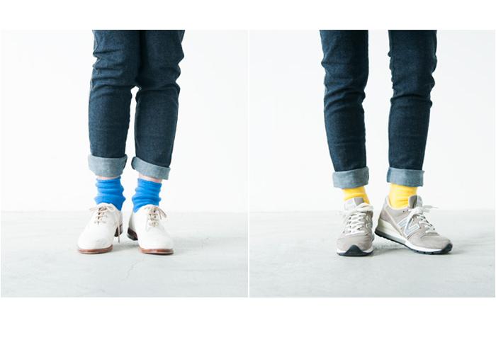 靴下は今やおしゃれにマストなアイテム。色や素材、サイズで遊び心を取り入れた足元コーデが全体のスタイルを左右します。きれいめレースアップシューズも、スニーカーも、こんな鮮やかな色を合わせると新鮮なスタイリングに。