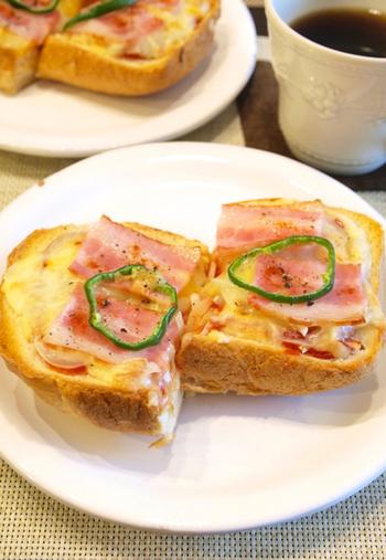 朝から元気をもらえるカラフルな見た目がいいですよね!熱々のチーズがとろりと一番美味しいうちに食べましょう!