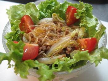 みんな大好きすき焼きが春雨サラダに。まるですき焼きを食べているような雰囲気です。