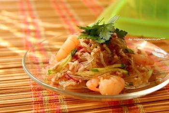 中華春雨サラダだけではなくタイ風春雨サラダはいかがでしょう?酸味もあるのでさっぱりと食べれます。