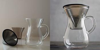 使わないときはコンパクトに収納できて、その姿もこんなに美しいんです。フィルターにカップ、カラフェを1つにまとめることができて、ここまで様になるコーヒーアイテムはなかなかありませんよ。