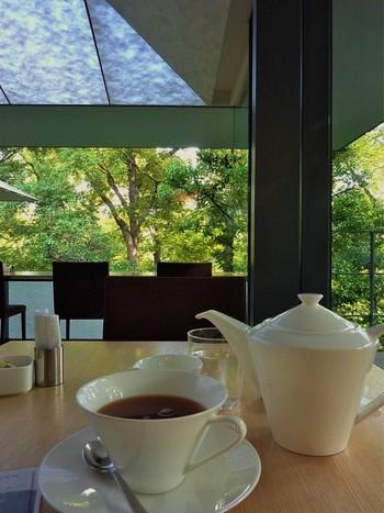 和紙からやわらかな光が降り注ぐNEZU CAFE。コーヒーやケーキのほか、パスタやミートパイなどのメニューがあります。 ※入店には入館チケットが必要です。