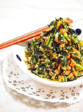 ビタミン、ミネラルがたっぷりのごはんのおともです♪手軽にお野菜も摂れるので、たっぷりかけていただきたいですね。