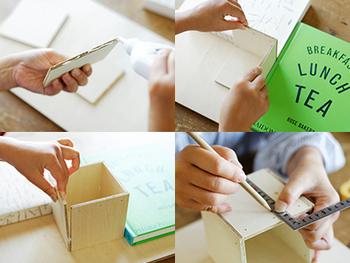 吊し糸を通すための穴をあけ、四角く切った5枚の板を接着剤でくっつけてBOX型をつくります。