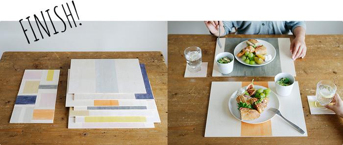 ペイントが乾いたら、オリジナルのコースター&ランチョンマットが完成!ナチュラルでカラフルな色合いがいつもの食卓をもっと楽しく彩ってくれそうですね。