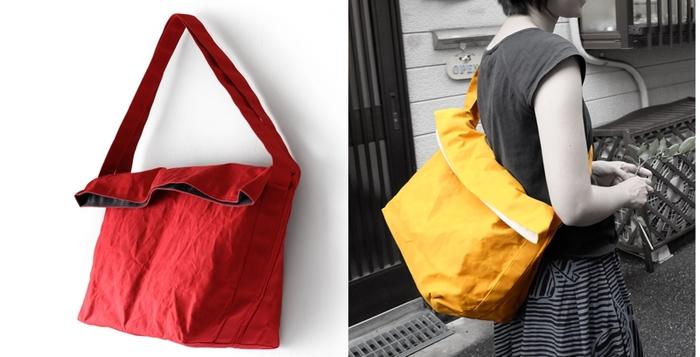 人気商品の「カゴバッグ」。薄手の帆布を2重にし、パラフィン加工を施した表面は、絶妙なシワとくたっと感が魅力。見かけによらない大容量で、日常使いからお買物、小旅行までマルチに使えます。