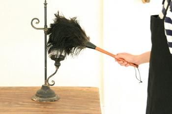化繊の羽根はたきとは違って静電気が起こりにくく、繊細なデザインの置物などのホコリもやさしくなでるだけでキレイに取り除いてくれます。ふさふさの柔らかい羽なので、テレビやデッキ、パソコンなどの家電製品、デリケートな観葉植物の上にのったホコリのお掃除にもおすすめです。
