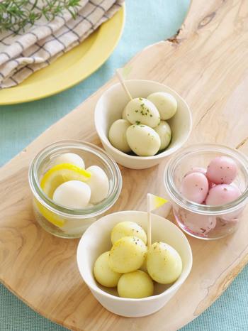 意外にも美味しくておすすめなのが、卵のピクルス。カレー粉やゆかりで色付けすればこんなに可愛く!お弁当にも入れたいですね*