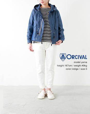 ナイロンジャケットにボーダーカットソーを合わせ、マリンなスタイルに。キレイなブルーがこれからの季節にピッタリの一着。トレンドな雰囲気が漂い春らしい軽やかなスタイリングが素敵ですね。