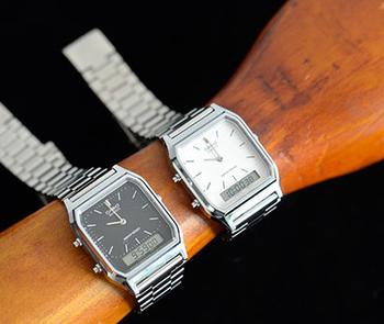 CASIO(カシオ)のアナデジ デュアルタイム腕時計。大きめのスクエアフォルムにメタルバンドが、レトロな雰囲気漂う高機能ウォッチです。デジタルとアナログを兼ね備えた文字盤は見やすく、プライベートにも仕事にも使えるデザインが魅力。